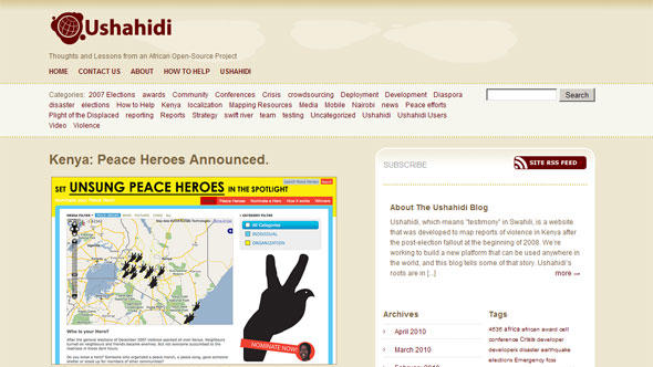 Скриншот ushahidi.com