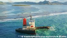 A part of the Japanese-owned bulk carrier MV Wakashio which ran aground, is seen in this August 22, 2020 picture obtained from social media, off the coast of Mauritius. MOBILISATION NATIONALE WAKASHIO /via REUTERS THIS IMAGE HAS BEEN SUPPLIED BY A THIRD PARTY. MANDATORY CREDIT. NO RESALES. NO ARCHIVES. MUST ON SCREEN COURTESY MOBILISATION NATIONALE WAKASHIO