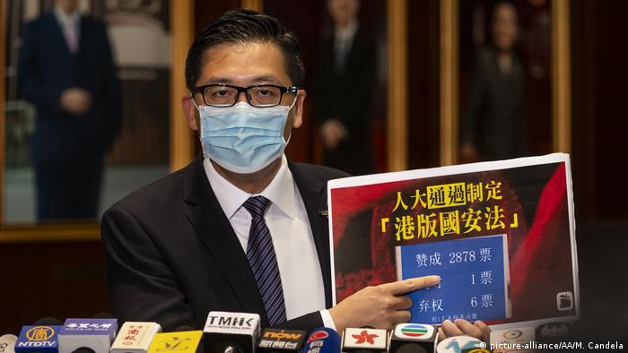 Democratic Party politician Hon LAM Cheuk-ting talks to the press outside the Legislative Council chamber during the last day reading of the National Anthem Bill at the Legislative Council in Admiralty, in Hong Kong, China on June 03, 2020