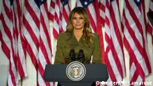 U.S. first lady Melania Trump delivers her live address to the largely virtual 2020 Republican National Convention from the Rose Garden of the White House in Washington, U.S., August 25, 2020. REUTERS/Kevin Lamarque TPX IMAGES OF THE DAY