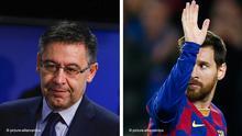 Bildkombo Josep Maria Bartomeu und Lionel Messi