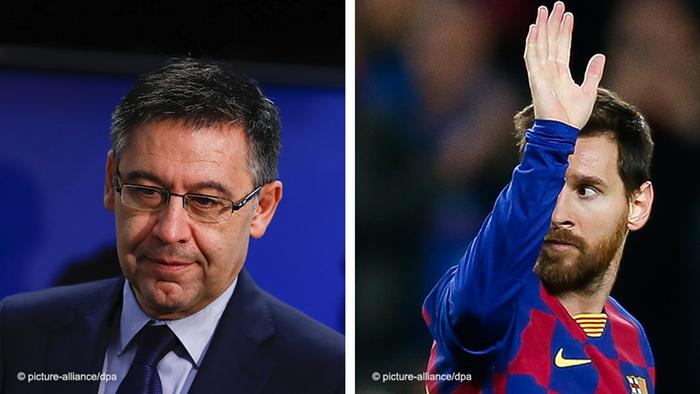 Josep Maria Bartomeu (l) and Lionel Messi (r)
