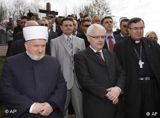Reis-ul-ulema Mustafa ef. Cerić sa Žoze Manuelom Barosom i Jerži Buzekom i nadbiskup vrhbosanski kardinal Vinko Puljić