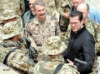 Karl-Theodor zu Guttenberg meets with soldiers in Afghanistan