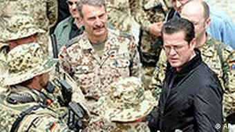 Guttenberg with soldiers in Afghanistan