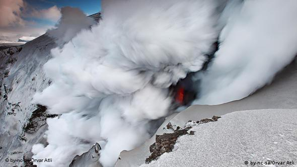 The volcanic eruption at the Eyjafjallajokull glacier in southern Iceland