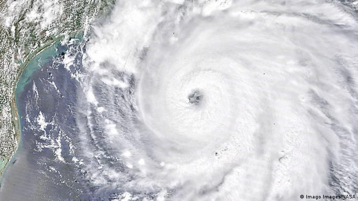 A satellite photo showing Hurricane Laura approaching the coast
