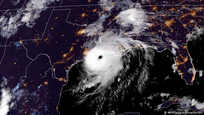 Satellite picture of Hurricane Laura 2020
