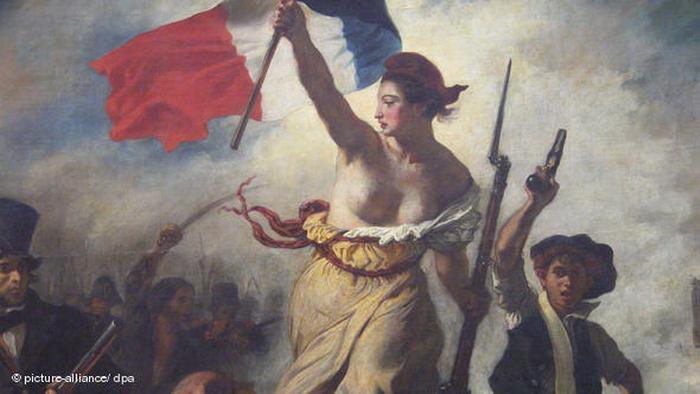 Gemälde von Eugene Delacroix: Die Freiheit führt das Volk, 1830