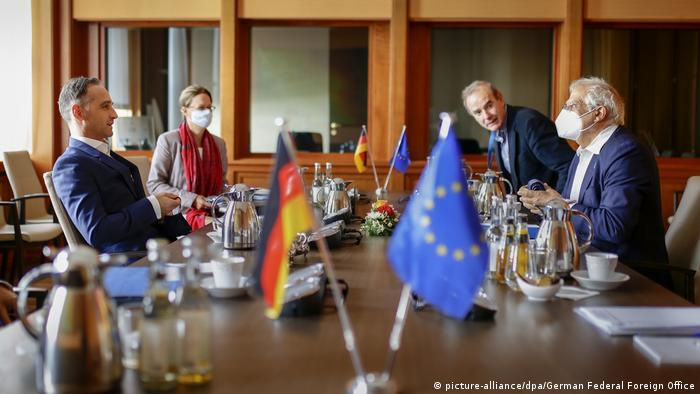 German Foreign Minister Heiko Maas and High Representative of the European Union for Foreign Affairs and Security Policy Josep Borrell, among others, at an informal meeting for EU foreign ministers in Berlin