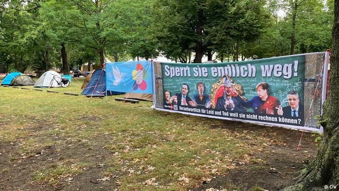 Tents and banners in park in Berlin