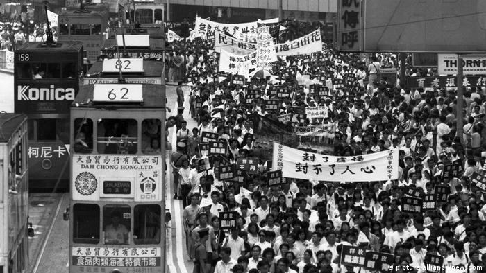 Hongkong Protest anlässlich des Tiananmen-Massakers 1989
