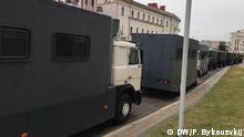 Thema: Festnahmen der Demonstranten in Minsk Avtozaki - so heißen die LKWs zum Transport von Festgenommenen - im Zentrum von Minsk im August 2020 Fotograf: Pavel Bykousvkij, Korrespondent in Minsk (Belarus) am 25. August 2020 gemacht.