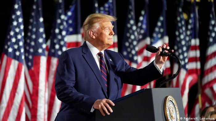 Presidente dos EUA, Donald Trump, em discurso na convenção republicana na Casa Branca