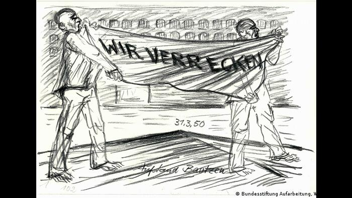 A drawing of a prisoner uprising at a Soviet special camp