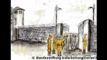 A drawing of prisoners in the Soviet special camp at Sachsenhausen
