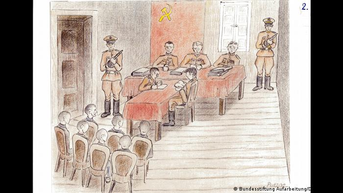 A Soviet military tribunal drawn by Detlev Putzlar, who was sentenced to 10 years in a prison labor camp in 1945