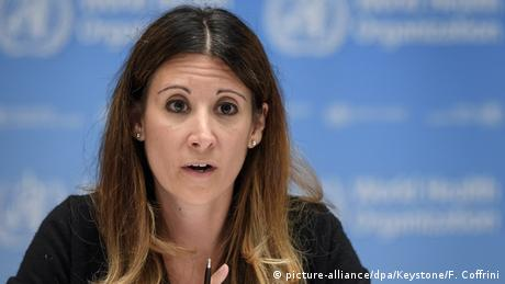 WHO scientist Maria van Kerkhove speaks at a press conference in Geneva, Switzerland in 2020