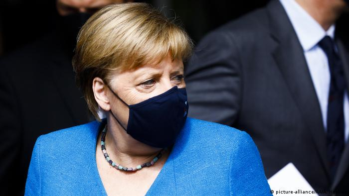 German Chancellor Angela Merkel with protective face mask