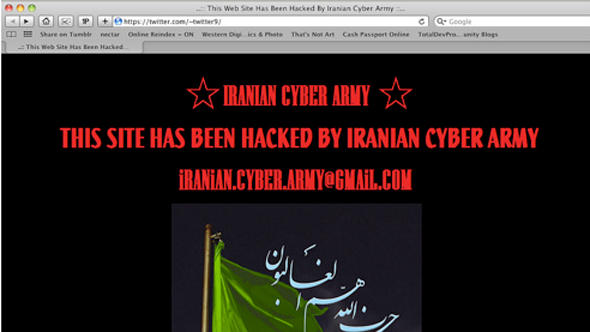 Sceenshot of Iranian Twitter site after the Iranian Cyber Army hacked it.