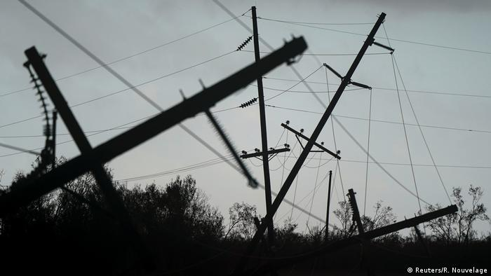 Power lines in Louisiana downed by Hurricane Laura