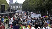 29.08.2020 People attend a protest rally in Berlin, Germany, Saturday, Aug. 29, 2020 against new coronavirus restrictions in Germany. Police in Berlin have requested thousands of reinforcements from other parts of Germany to cope with planned protests at the weekend by people opposed to coronavirus restrictions. (AP Photo/Michael Sohn) |