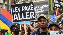 Mauritius Protesten nach der Ölpest durch einen gesunkenen Tanker