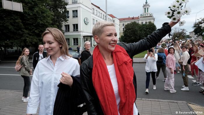 Мария Колесникова на марше женщин в Минске