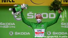 Team UAE Emirates rider Norway's Alexander Kristoff celebrates his green jersey of best sprinter on the podium at the end of the 1st stage of the 107th edition of the Tour de France cycling race, 156 km between Nice and Nice, on August 29, 2020. (Photo by Stuart Franklin / POOL / AFP) (Photo by STUART FRANKLIN/POOL/AFP via Getty Images)