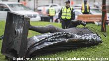 Kanada Montreal umgestürzte Statue von John A. MacDonald