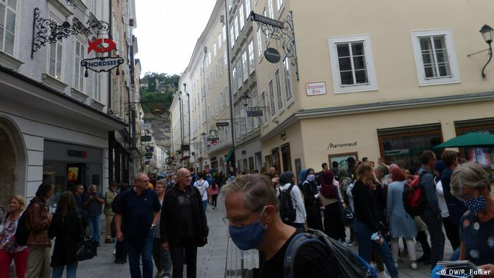 Downtown pedestrain street in Salzburg, pedestrians