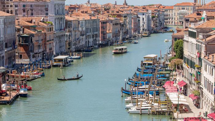 A very quiet, empty Grand Canal in Venice as tourists stay away