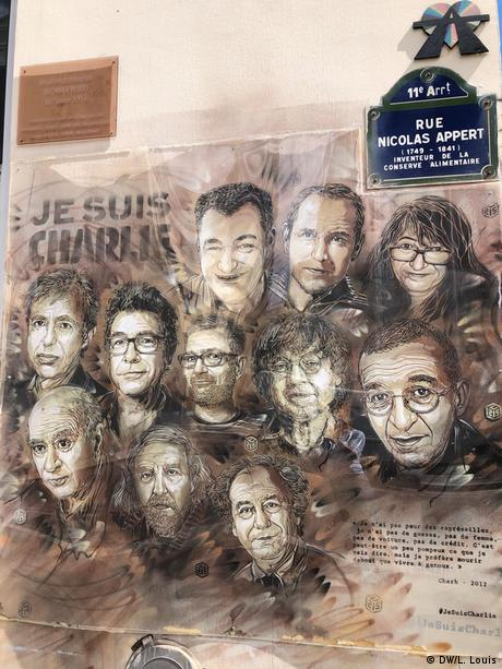 Graffiti of those killed in the attack on Charlie Hebdo