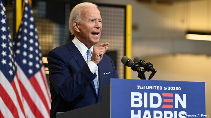 Joe Biden at lectern in Pittsburgh (Reuters/A. Freed)