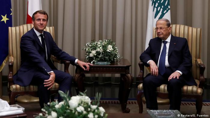 ماركون مع الرئيس البناني ميشيل عون