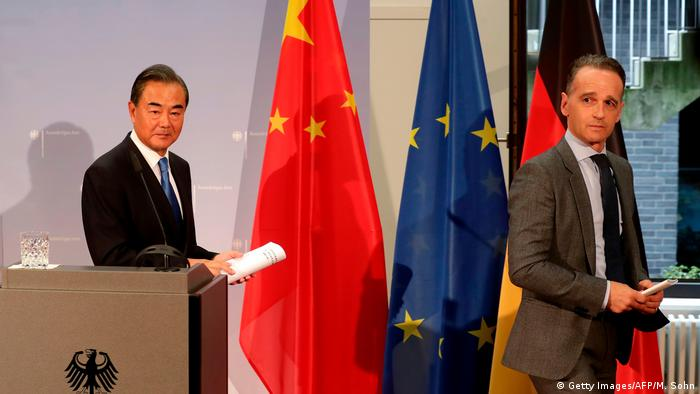 German foreign minister Heiko Maas und China's foreign minister Wang Yi at a meeting in Berlin on September 1, 2020.