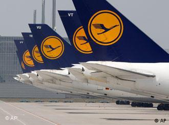 Lufthansa airplanes parked at the airport in Munich