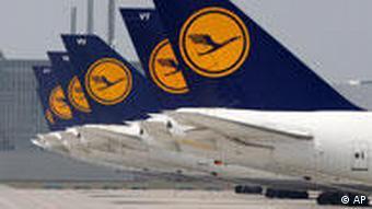 Parked Lufthansa planes