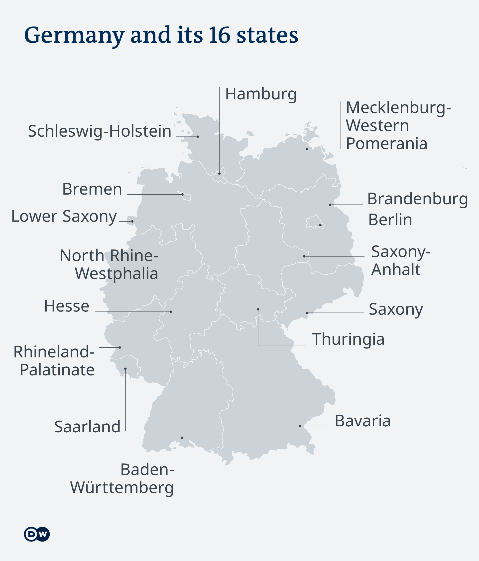Map of Germany and its 16 states