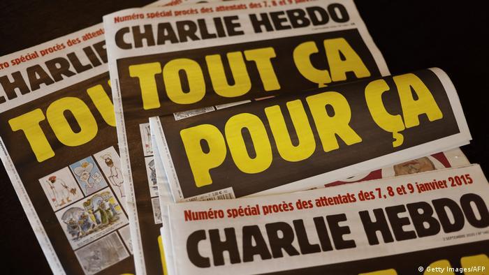 Titelseite Charlie Hebdo vom September 2020 mit dem Titel: All das, nur dafür