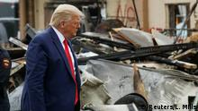 01.09.2020 U.S. President Donald Trump views property damage to a business during a visit to Kenosha in the aftermath of recent protests against police brutality and racial injustice and the ensuing violence after the shooting of Jacob Blake by police in Kenosha, Wisconsin, U.S., September 1, 2020. REUTERS/Leah Millis