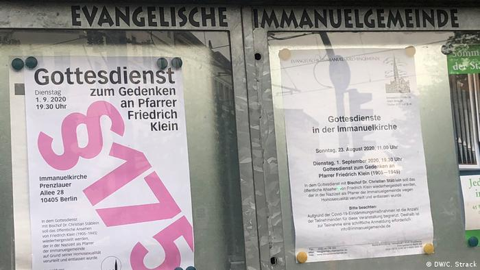 Advertisement for commemorative Mass outside Church