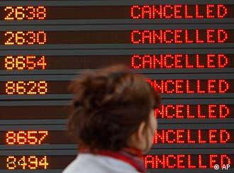 Departure schedule with cancelled flights