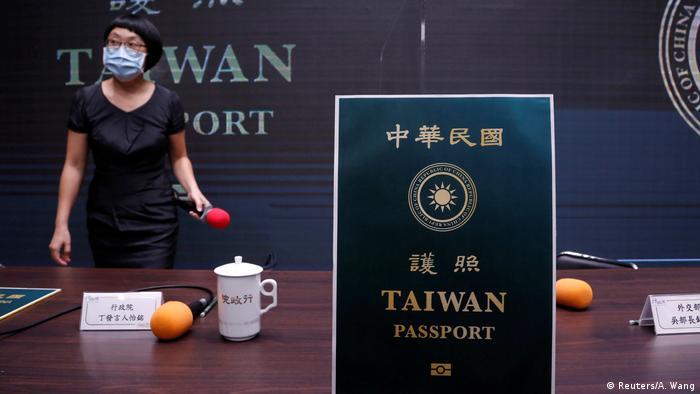 A mockup of Taiwan's new passport