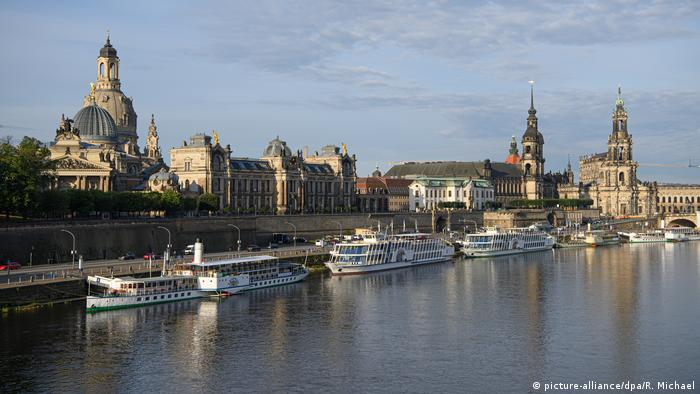 View of Dresden from the River Elbe: Ships, steeples and facades
