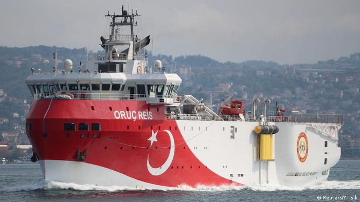 Turkish seismic research vessel Oruc Reis sails in the Bosphorus in Istanbul, headed for the eastern Mediterranean