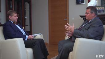 Линас Линкявичюс во время интервью Константину Эггерту