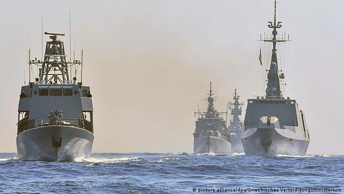 Warships from Greece, Italy, Cyprus and France during a drill off southern Turkey in late August
