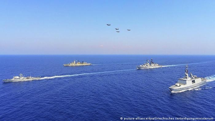 A naval military exercise in the Mediterranean