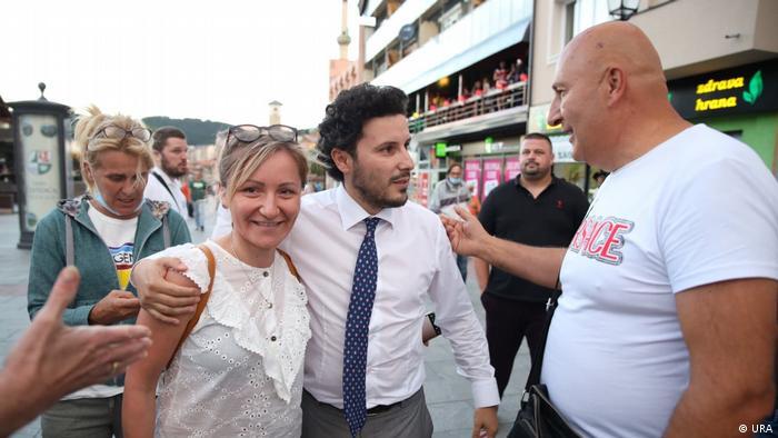 Montenegro Dritan Abazovic zu Besuch in dem Ort Pljevlja (URA)